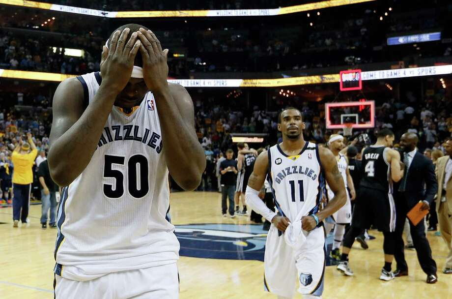 MEMPHIS, TN - MAY 27:  Zach Randolph #50 and Mike Conley #11 of the Memphis Grizzlies react after losing to the San Antonio Spurs 93-86 during Game Four of the Western Conference Finals of the 2013 NBA Playoffs at the FedExForum on May 27, 2013 in Memphis, Tennessee. NOTE TO USER: User expressly acknowledges and agrees that, by downloading and or using this photograph, User is consenting to the terms and conditions of the Getty Images License Agreement. Photo: Kevin C. Cox, Getty Images / 2013 Getty Images