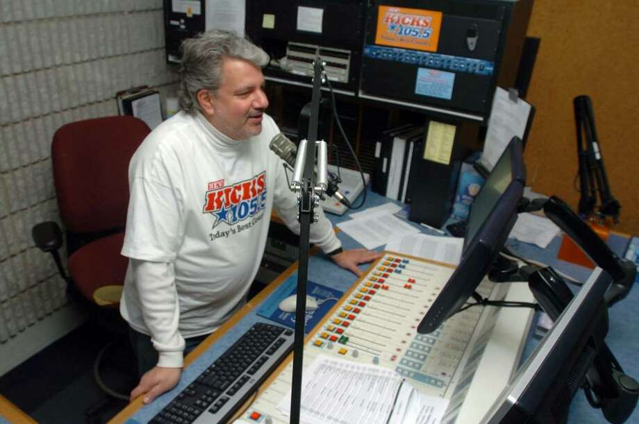 Bill Trotta, as Mr. Morning at the New KICKS 105.5 in Brookfield Tuesday, Jan. 12, 2009. Photo: Chris Ware / The News-Times