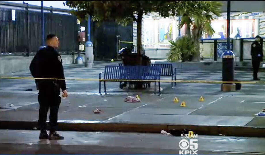 Officers were involved in a collision while responding to a possible suspect vehicle wanted in connection with a triple shooting in San Francisco's Inner Mission district Tuesday morning. Photo: CBS San Francisco