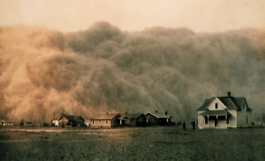 The United States is embroiled in the worst drought since the ìDust Bowlî days of the 1930s. The current drought started in 2012, the hottest year on record in the U.S. Pictured: A dust storm approaches Stratford, Texas in 1935. Photo courtesy of NOAA George E. Marsh Album Photo: Contributed Photo