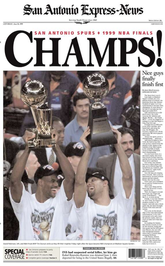 Spurs Championship win from the Express-News June 26, 1999 edition.