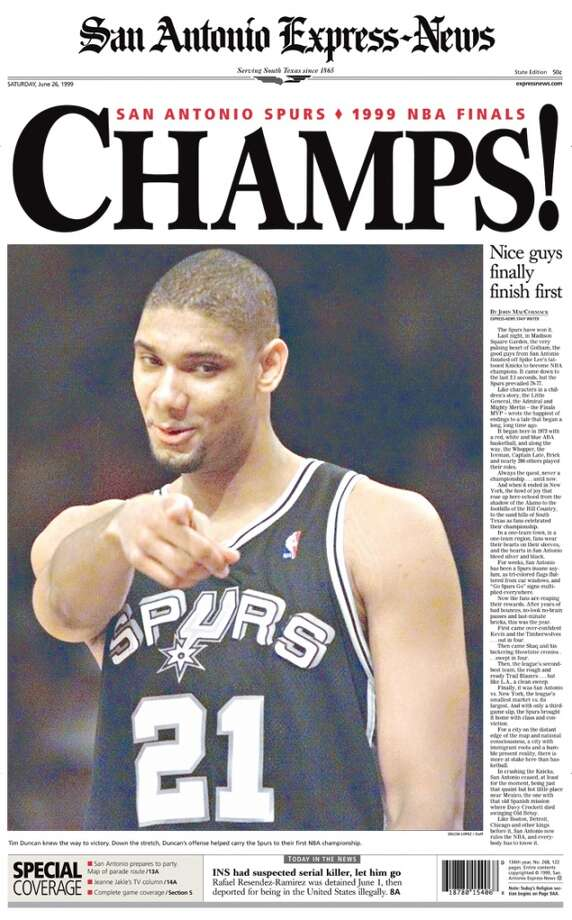 Spurs Championship win from the Express-News June 26, 1999 state edition. The state edition was the first edition of the paper that went out into the paper's outlying counties.