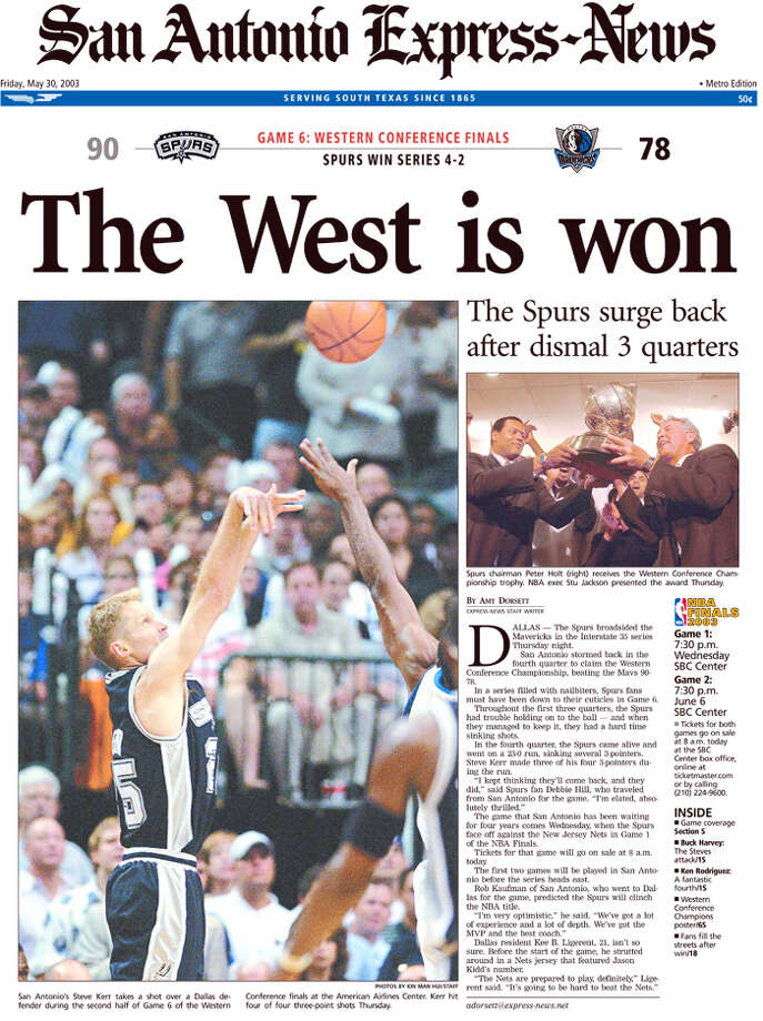 Western Conference win from the Express-News May 30, 2003 edition.