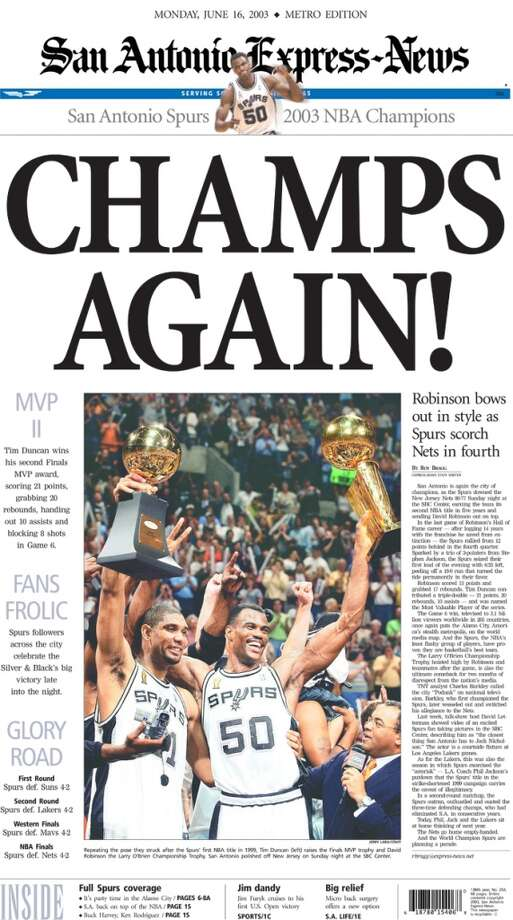 The June 16, 2003 Express-News front page coverage of the Spurs championship win.