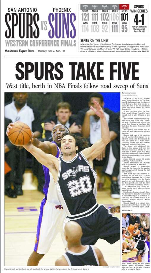 Express-News June 2, 2005 front page coverage of the Spurs Western Conference win.