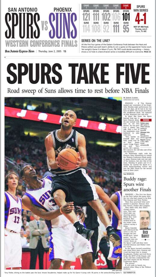 Express-News special section from June 2, 2005 of the Spurs Western Conference win.