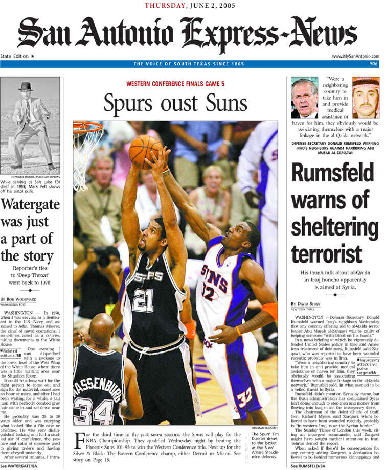 The state edition from the Express-News June 2, 2005 of the Spurs conference win.