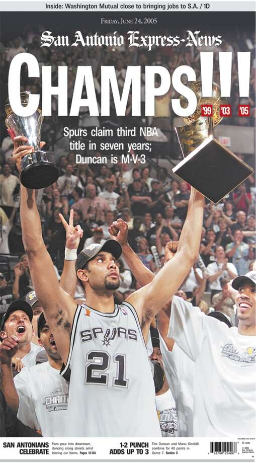 Express-News June 24, 2005 front page  after the Spurs championship win.