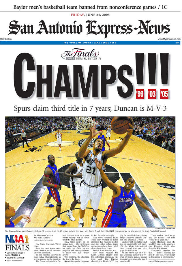 The June 6, 2005 state edition of the Express-News after the Spurs championship win.