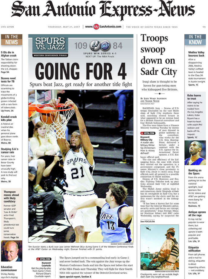 The state edition of the May 31, 2007 Express-News coverage from the Spurs Western Championship.
