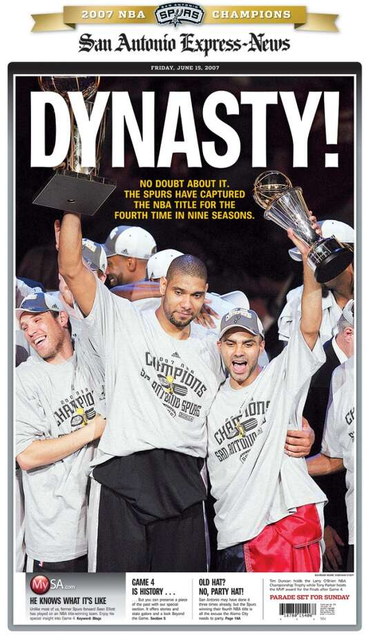 The June 15, 2007 front page of the Express-News covering the Spurs Championship win.