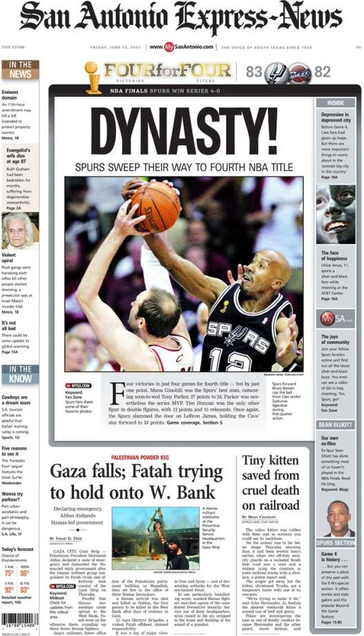 The state edition of the Express-News' front page following the Spurs win on June 14, 2007.