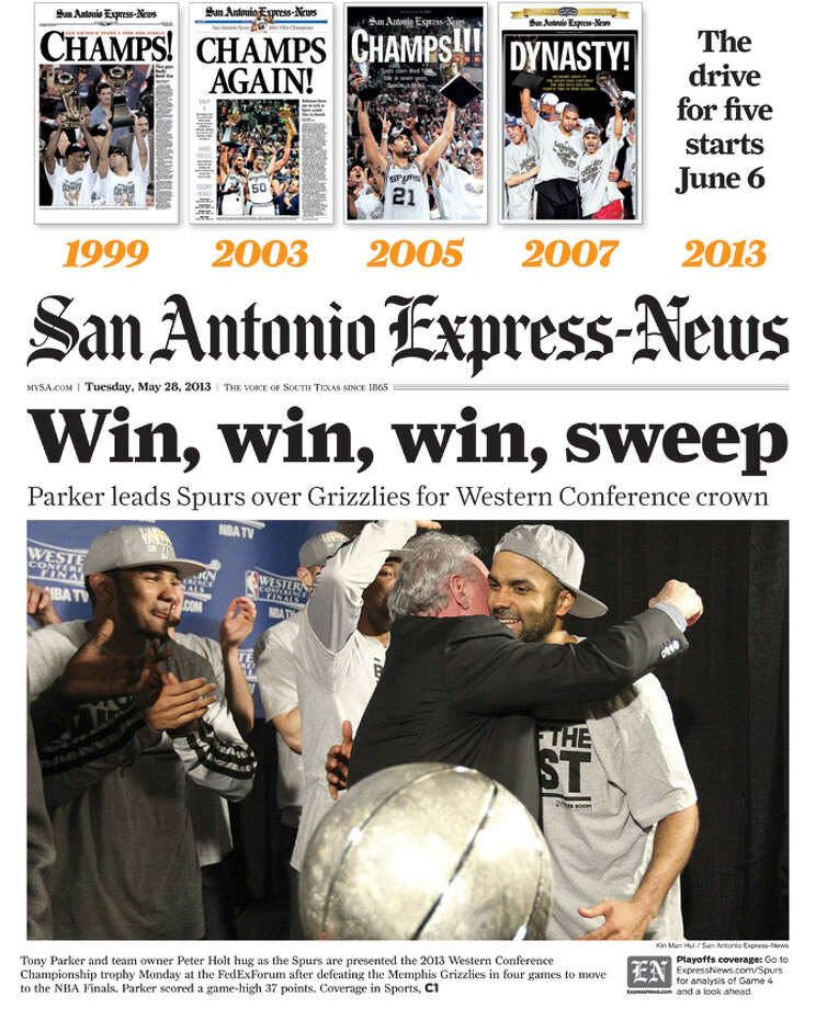 Express-News coverage on May 28, 2013 of the Spurs Western Conference win. Photo: PrintExpress PDF Export. - IPA Systems Ltd.