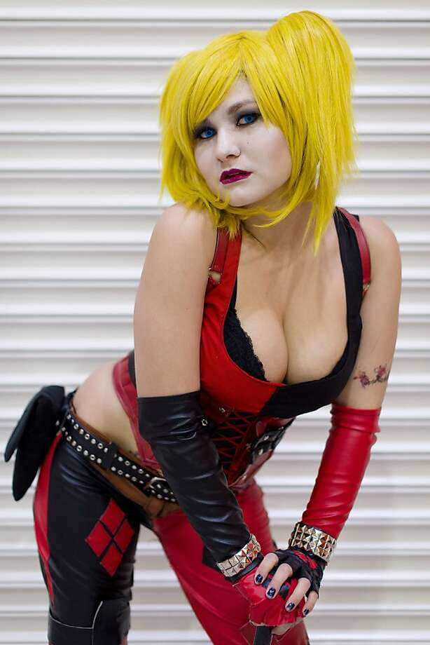 "Anime enthusiast ""Lulu's Cosplay"" flashes leather at MCM London ComicCon, which runs through Thursday. Photo: Leon Neal, AFP/Getty Images"
