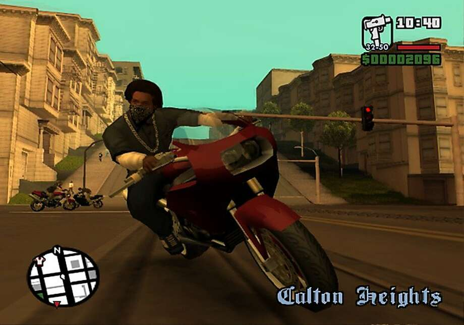 "A motorcyclist speeds through a faux Pacific Heights in ""Grand Theft Auto: San Andreas."" Photo: Courtesy Rockstar Games, AP"