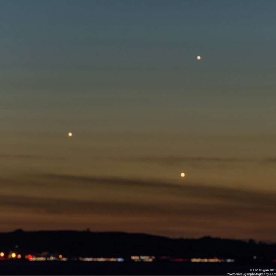 Jupiter, Venus and Mercury appeared in a triangle -- the triple conjunction -- over the western sky of the Bay Area. Can you tell  which planet is which?