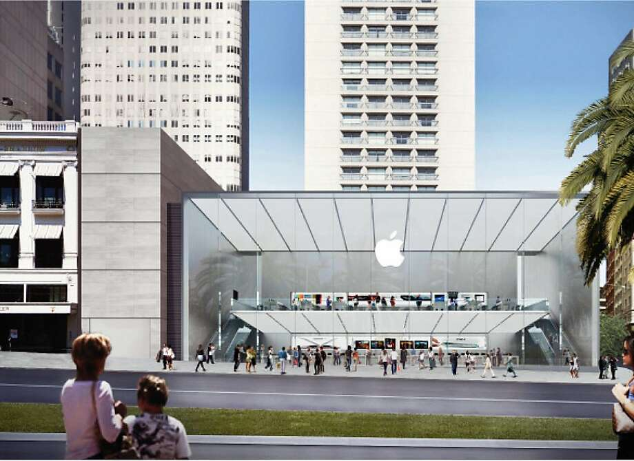 Apple envisions a two-story store on Union Square, with a south-facing wall of windows that would soak up sun all day.