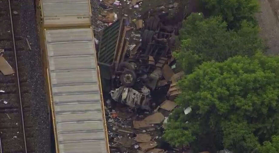 An aerial view of a freight train derailment near Baltimore. Photo: WBAL