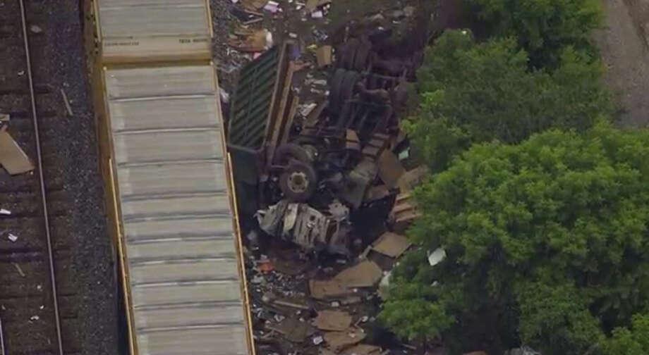 An aerial view of a freight train derailment near Baltimore. Photo: WBAL