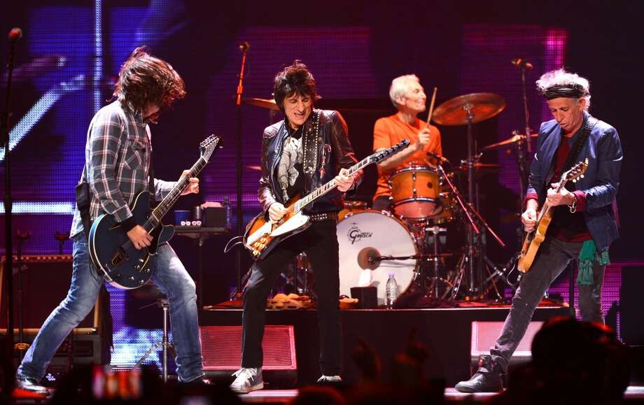 Musicians Dave Grohl, Ronnie Wood, Charlie Watts and Keith Richards perform at the 'Rolling Stones 50 & Counting Tour' at The Honda Center on May 15, 2013 in Anaheim, California.  (Photo by Mark Davis/Getty Images for AEG)