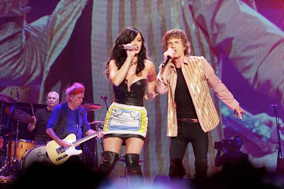 "n this handout image provided by The Rolling Stones, Katy Perry performs ""Beast of Burden"" onstage with Mick Jagger during The Rolling Stones ""50 and Counting"" tour on May 11, 2013 in Las Vegas, Nevada. Photo: Handout, Getty Images / 2013 The Rolling Stones"