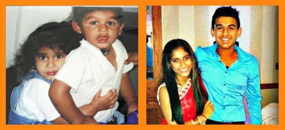 This is a photo of me, Alisha V. Patel and my nephew, Dillon Patel. When we were 2 years old playing (enjoying each other's company) and now 13 years later when we are 15 years old. This was in San Antonio, Tx. Photo: Courtesy