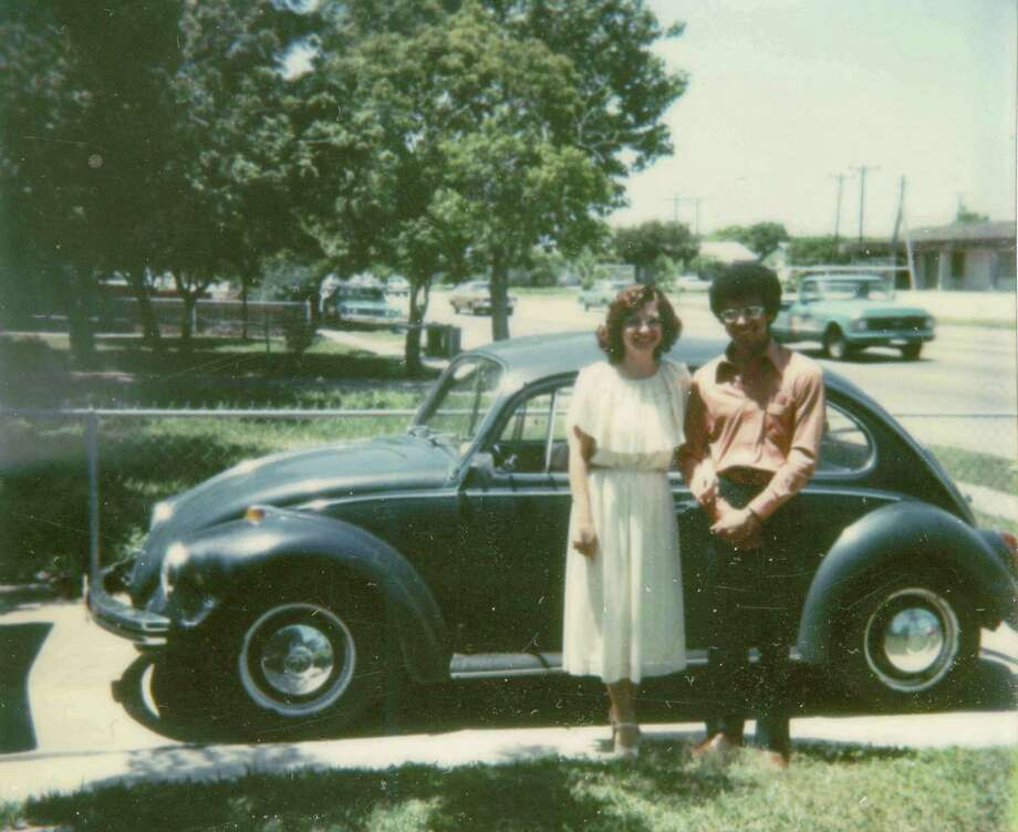 Taken on April 24, 1978, Corpus Christi, TX in front of David's mother's home.  Pictured is David Cuevas and Estella Cuevas the day of their wedding, the day they had to move to St. Louis, MO because of David's promotion to Area Manager-Operators Services Facilities Administration with Southwestern Bell Telephone (now AT&T).  Estella also an employee of Southwestern Bell already had a secured position in St. Louis waiting for her.  The blue 1970 VW was their mode of transportation. Photo: Courtesy
