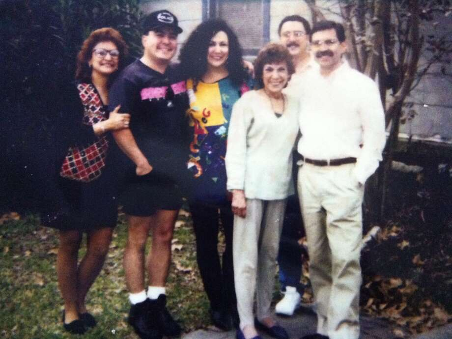 1990:Taken in the front yard of Mom's home in San Antonio (near St. Mary's University). From left to right: Yvette Hester, Paul Chapa, Annette Macias, Fred Chapa (back row), MOM - Beatrice Chapa and Anthony Chapa. Photo: Courtesy