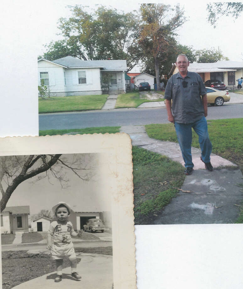The black and white photo is me at 15 months old in 1950, taken by my mom at our house on Overhill Drive, here in San Antonio Texas. I went back to the same house in October 2012, over 62 years later, and shot the color photo of me at the same house, on the same sidewalk, in the same place! Photo: Courtesy