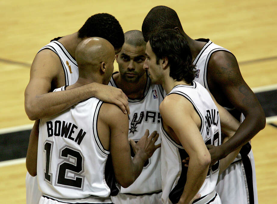 The Spurs starting five (from left) Bruce Bowen, Tim Duncan, Tony Parker, Nazr Mohammed and Manu Ginobili during the first quarter of game 7 of the NBA Finals at the SBC Center in San Antonio, June 23, 2005. (WILLIAM LUTHER/STAFF) Photo: WILLIAM LUTHER, SAN ANTONIO EXPRESS-NEWS / SAN ANTONIO EXPRESS-NEWS