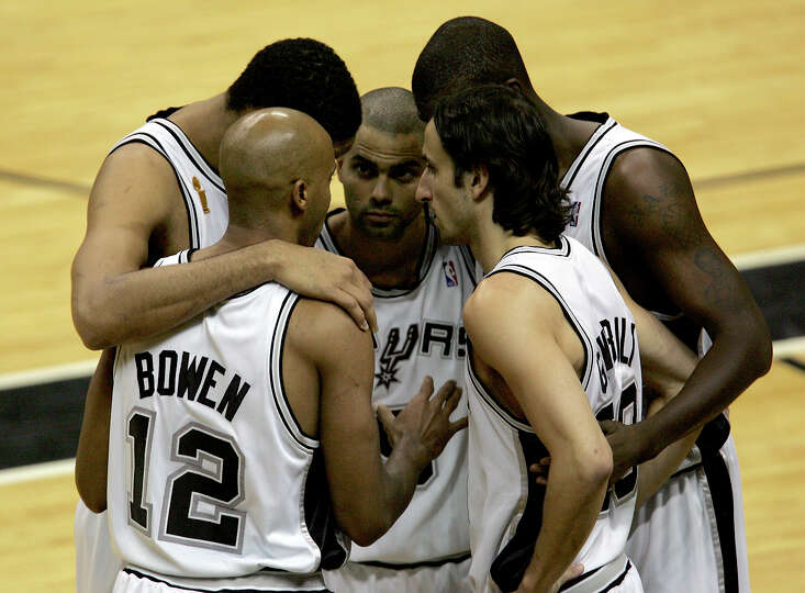 The Spurs starting five (from left) Bruce Bowen, Tim Duncan, Tony Parker, Nazr Mohammed and Manu Gin