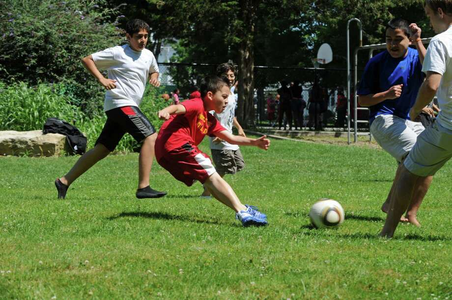 Now celebrating its 50th year, Horizons at New Canaan Country School received a $22,000 grant from the Fairfield County Community Foundation. Above, students enjoy a soccer game at Horizons. Photo: Contributed Photo