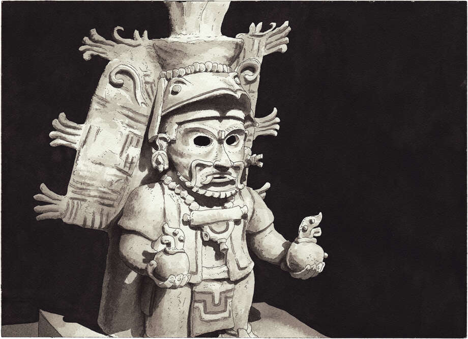 May 5, 2013 - Mayan incense holder, drawn from the collection of the de Young Museum, SF Photo: Paul Madonna