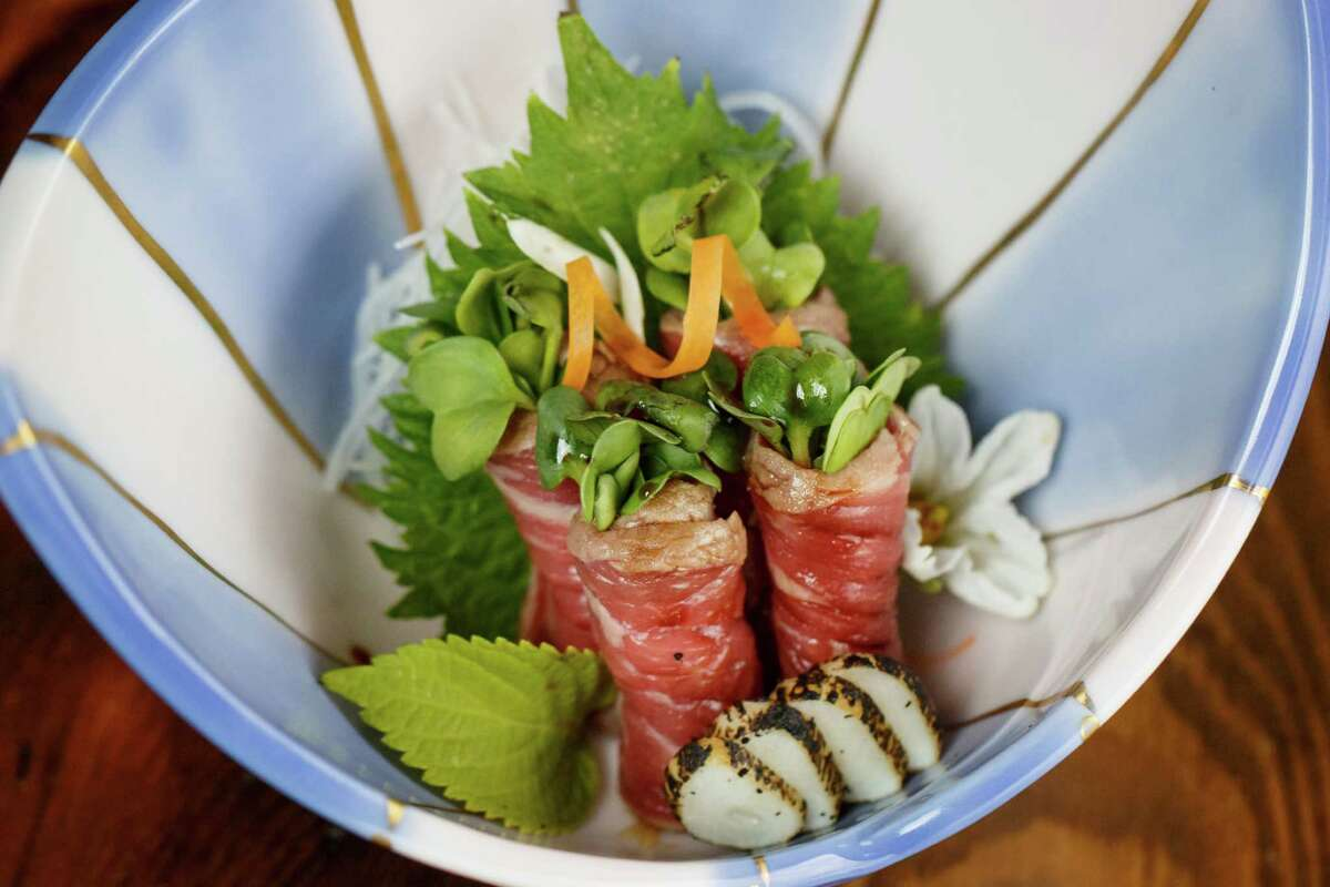 Beef Tataki Kaiware with Seared Garlic and Ponzu Sauce at MF Sushi, Tuesday, May 14, 2013, in Houston. ( Michael Paulsen / Houston Chronicle )