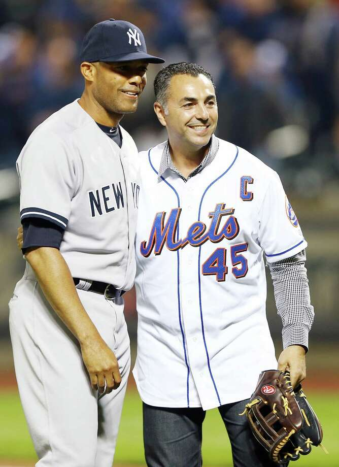 NEW YORK, NY - MAY 28:  Mariano Rivera #42 of the New York Yankees poses with former New York Mets great John Franco after Rivera threw out the ceremonial first pitch before the game against the New York Mets on May 28, 2013 at Citi Field in the Flushing neighborhood of the Queens borough of New York City. Photo: Elsa, Getty Images / 2013 Getty Images
