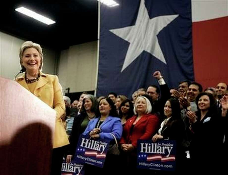 Democratic presidential hopeful, Sen. Hillary Rodham Clinton, D-N.Y., speaks during a campaign stop at the McAllen Convention Center in McAllen, Texas, Wednesday, Feb. 13, 2008. Photo: Carolyn Kaster, AP / AP