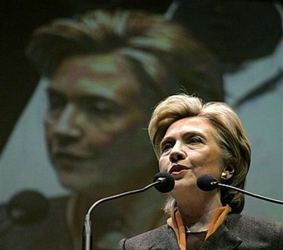 Democratic presidential hopeful, Sen. Hillary Rodham Clinton, D-N.Y., speaks at a union rally to honor the legacy of Martin Luther King Jr., in New York, Monday, Jan. 14, 2008. Photo: Elise Amendola, AP / AP