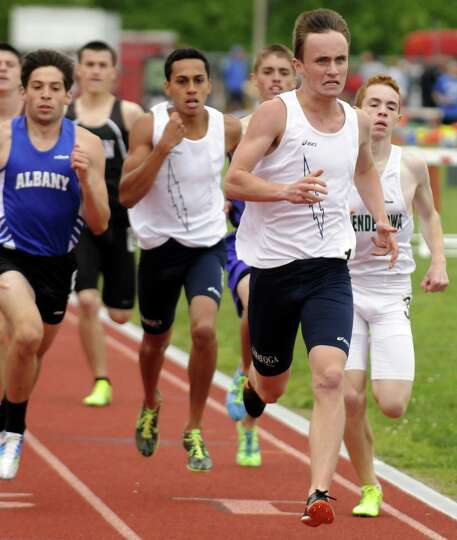 Saratoga's Jay Navin, front, went on to win the boy's 800 during the high school track Section II ch
