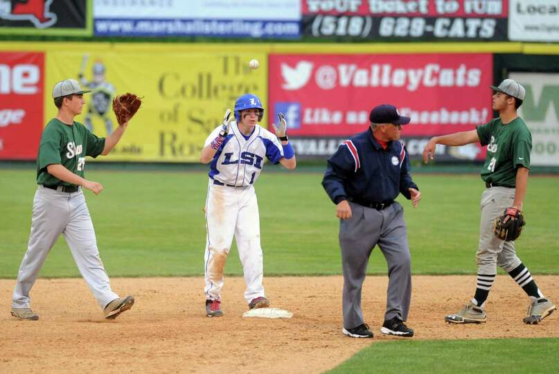 LaSalle's Ben Beaury, center, does not like the call after being called out stealing second during t