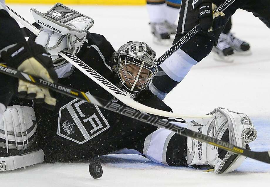Los Angeles Kings goalie Jonathan Quick makes a save against the San Jose Sharks during the third period in Game 7 of the Western Conference semifinals in the NHL hockey Stanley Cup playoffs, Tuesday, May 28, 2013, in Los Angeles.  (AP Photo/Mark J. Terrill) Photo: Mark J. Terrill, Associated Press