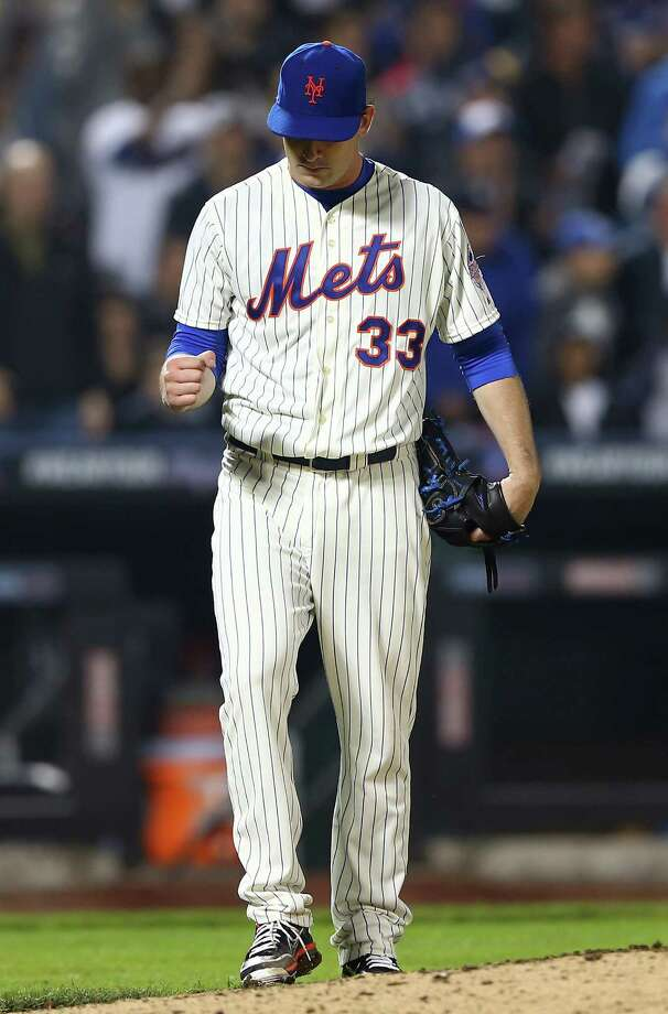 NEW YORK, NY - MAY 28:  Matt Harvey #33 of the New York Mets celebrates the final out of the eighth inning against the New York Yankees on May 28, 2013 at Citi Field in the Flushing neighborhood of the Queens borough of New York City.  (Photo by Elsa/Getty Images) Photo: Elsa, Getty Images / 2013 Getty Images