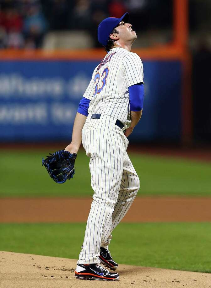 NEW YORK, NY - MAY 28:  Matt Harvey #33 of the New York Mets watches a pop fly in the first inning against the New York Yankees on May 28, 2013 at Citi Field in the Flushing neighborhood of the Queens borough of New York City.  (Photo by Elsa/Getty Images) Photo: Elsa, Getty Images / 2013 Getty Images
