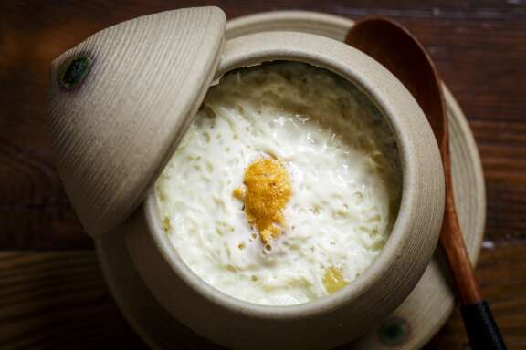 Chawanmushi with Lobster and Uni at MF Sushi, Tuesday, May 14, 2013, in Houston. ( Michael Paulsen / Houston Chronicle )