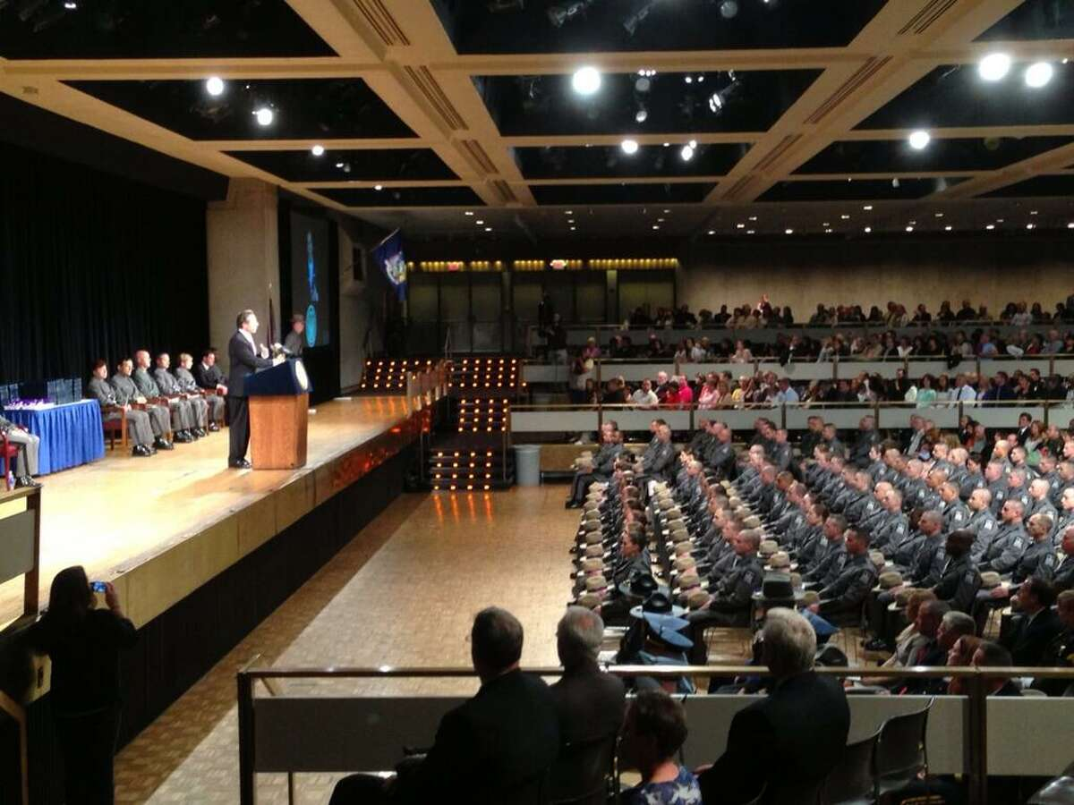 Gov. Andrew Cuomo addresses the 199th class of State Police academy. (Skip Dickstein / Times Union)