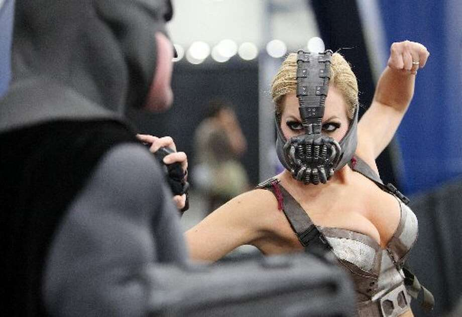 Nicole Marie Jean, a female version of Batman's Bane character, poses during the ComicPalooza.