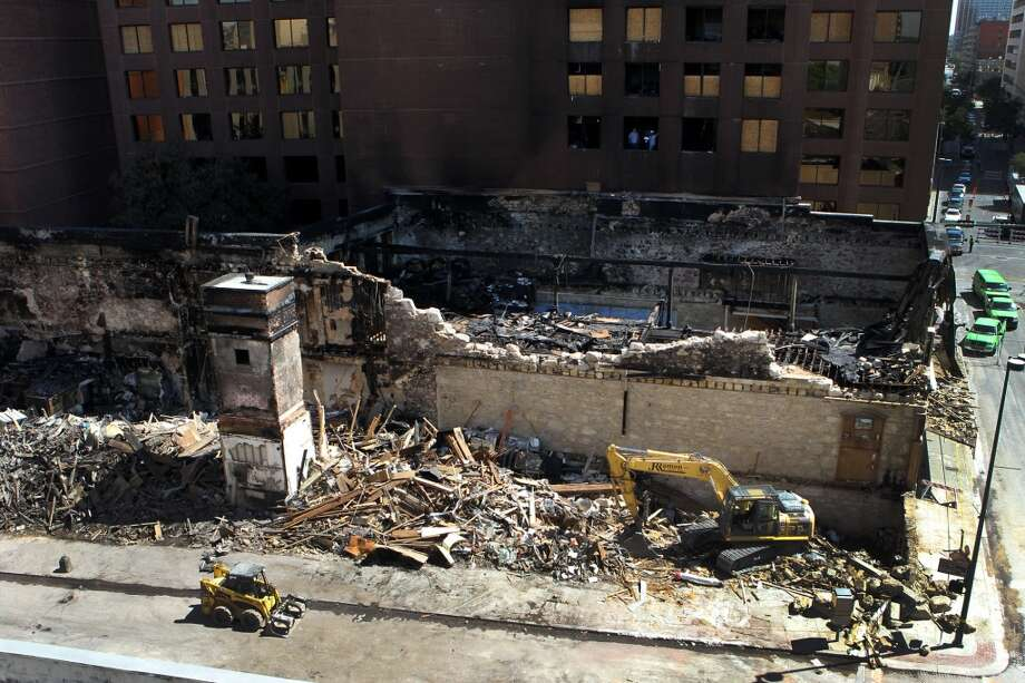 Demolition of the Wolfson building continued in October 2011 after a fire tore through the historic building.