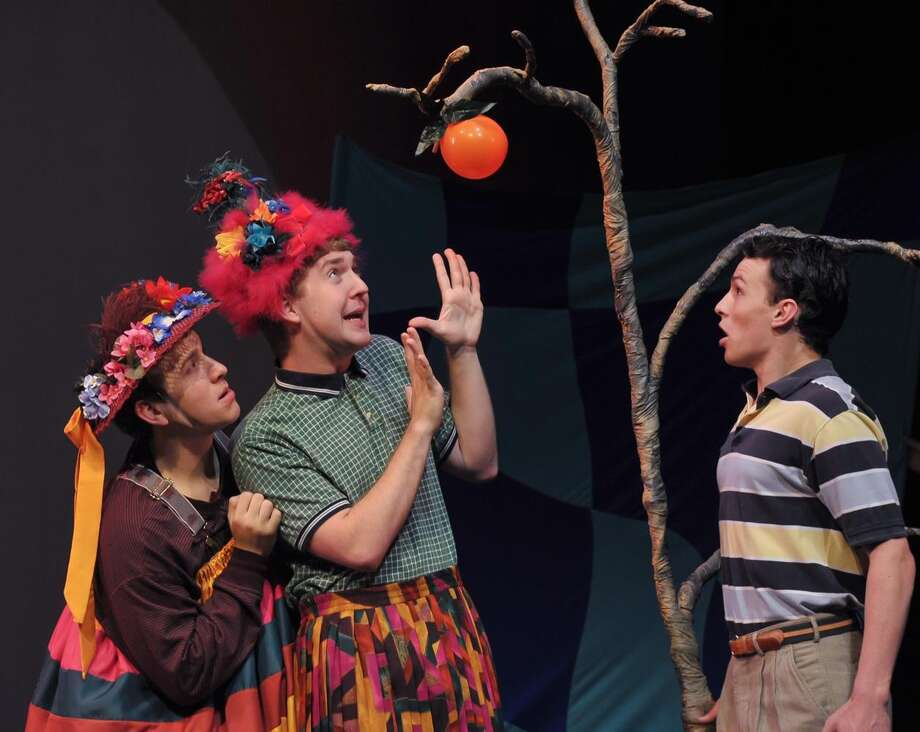 "Nick Martiniano, Matt McFadden and Austin Lombardi in ""James and the Giant Peach"" at Theatre Institute at Sage through June 7, 2013. (Courtesy Theatre Institute at Sage)"