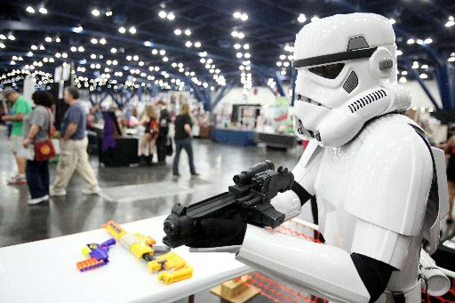 Storm Trooper, with Rebel Legion, waits for costumers.
