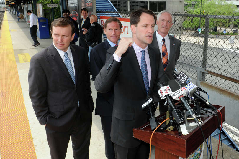 Congressman Jim Himes speaks during a press confernce at the train station in Bridgeport, Conn., May