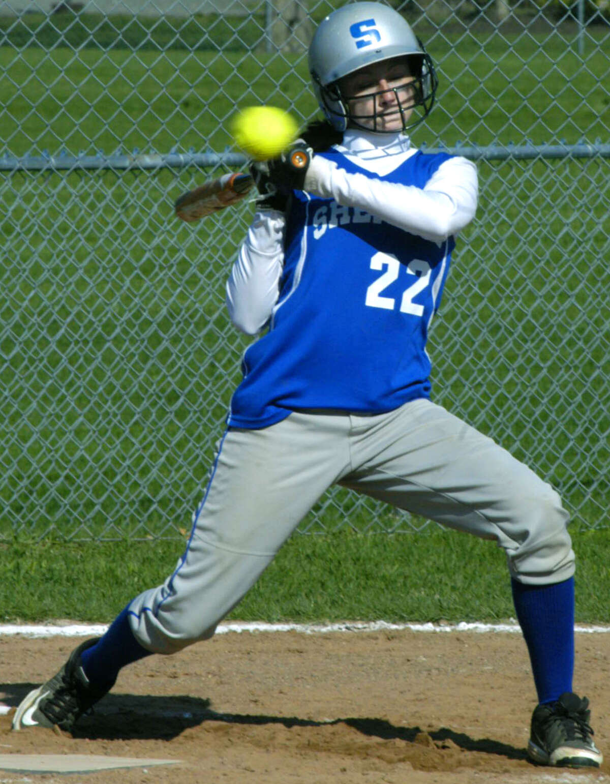 Spartan frosh Giana Johnson dodges an inside pitch for Shepaug Valley High School softball, May 2013